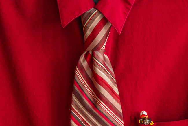 Red Stripes & a Mini-Fig | by Chris Johnson of cJohnsonPhoto.com | Red dress shirt, striped tie, and a Lego man in the pocket.